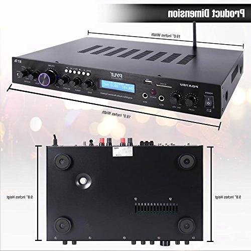 Pyle Rack Mount Bluetooth Amplifier, MP3/USB/SD/AUX/FM Radio, w/ LCD