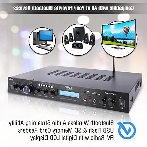 Pyle Upgraded Rack Bluetooth Home Amp, Speaker Amplifier, Bluetooth MP3/USB/SD/AUX/FM Display from -