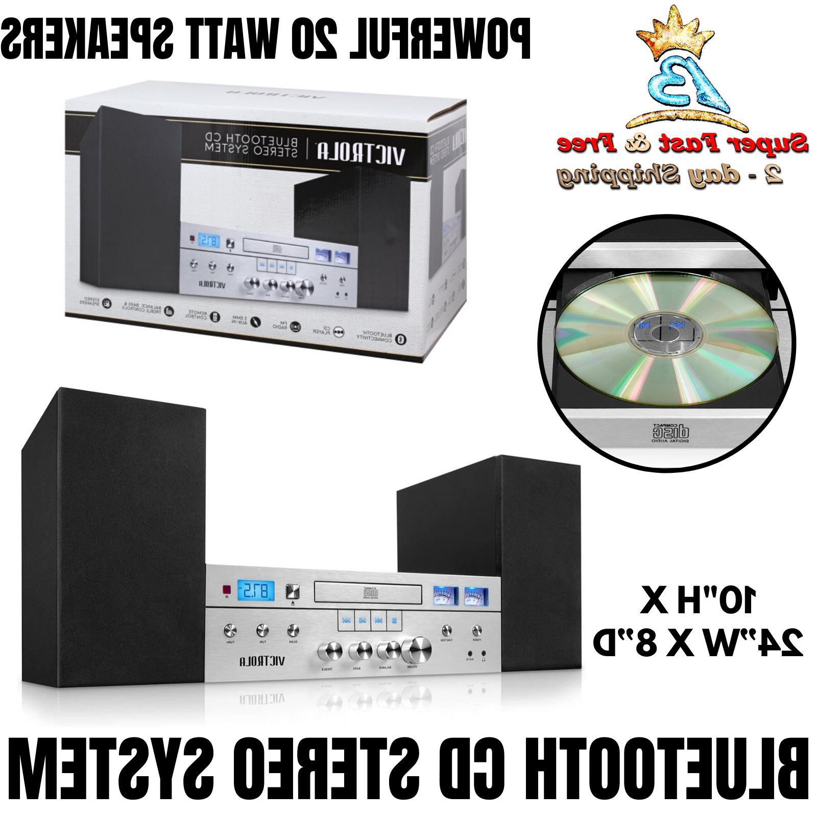 Bluetooth CD Player Shelf Stereo System FM Radio Tuner 20 Wa