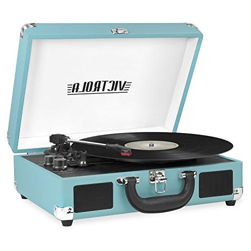 Victrola Vintage Stereo Speaker Bluetooth Portable Turntable Record Player Black