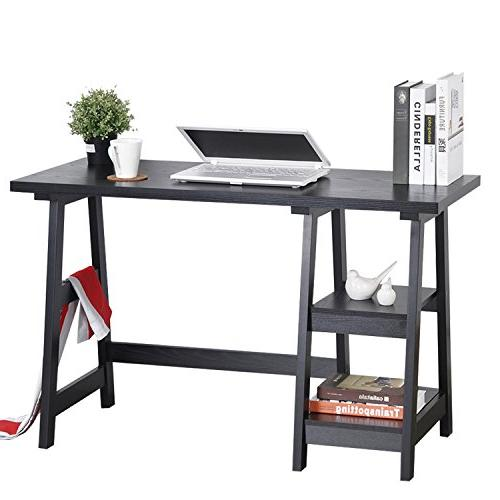 computer writing desk laptop table trestle wood home office