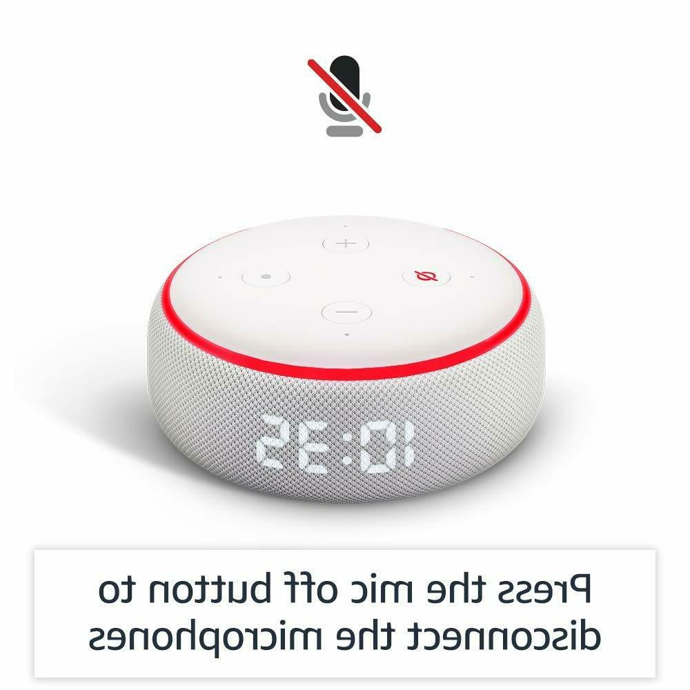 Amazon Echo Dot 3rd Generation with Clock and Alexa Sandstone