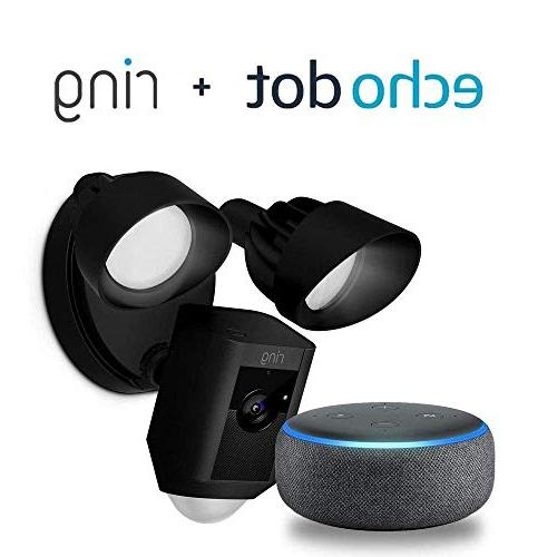 Ring Camera HD Talk and Black, with Echo Charcoal