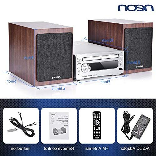 neon with Speakers, CD Stereo Player with Bluetooth USB Radio Function, with Remote Control, Home System,