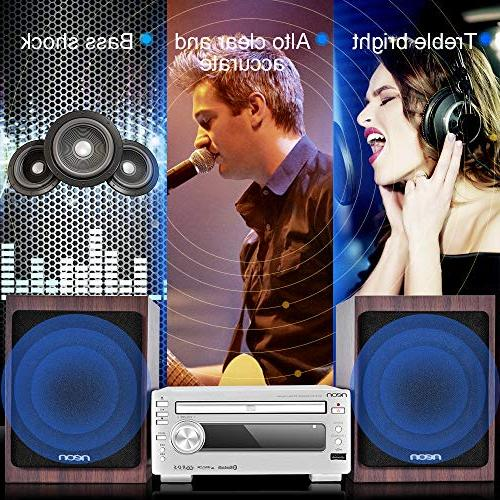 neon Hi-Fi with Speakers, CD Stereo USB FM with Remote Home Music System, MCB1533