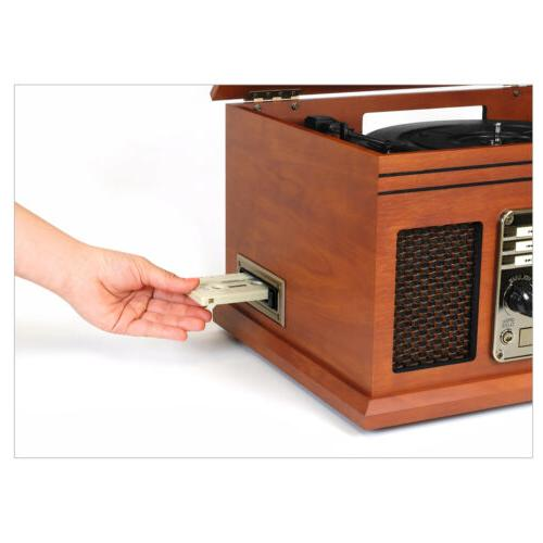 Home Stereo System With Turntable Bluetooth USB Flash Drive
