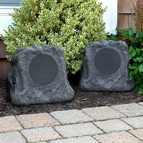 Innovative Premium Bluetooth Rock Speakers with A/C Adaptor, in Rechargeable and Solar Panels, Pair, Charcoal