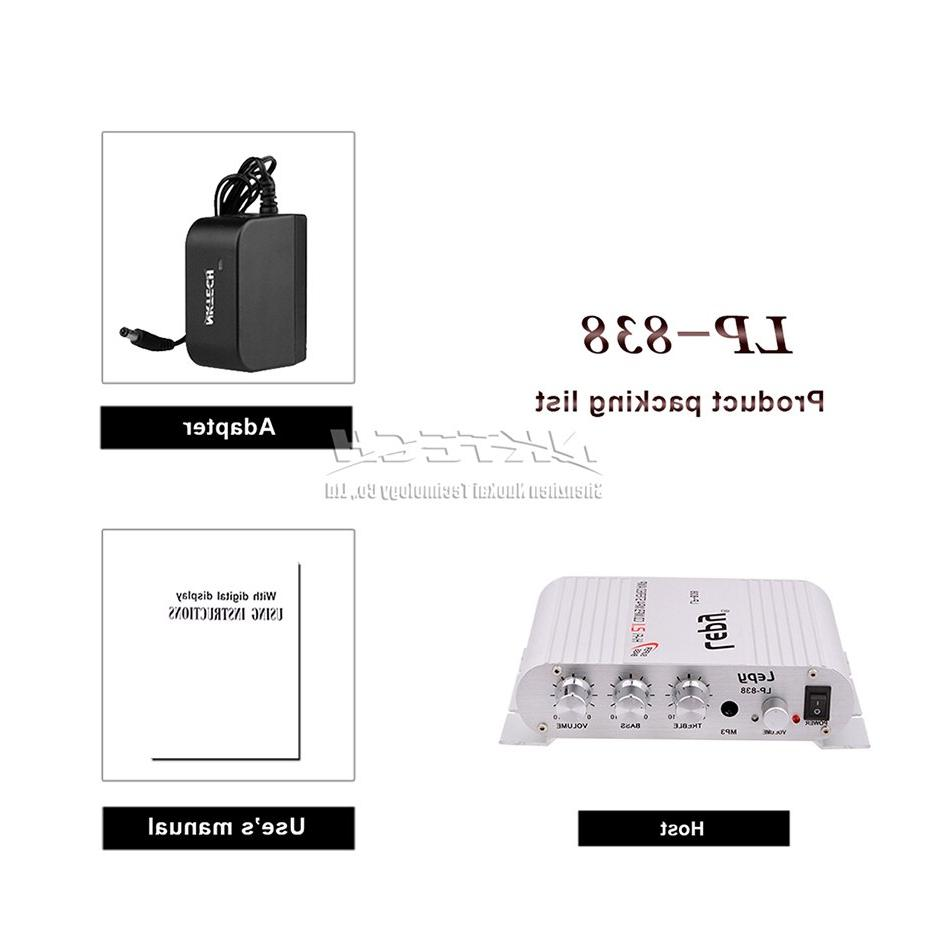 LP-838 Car Power 2.1CH 20W 2x15W MP3 MP4 Motorcycle BASS Player