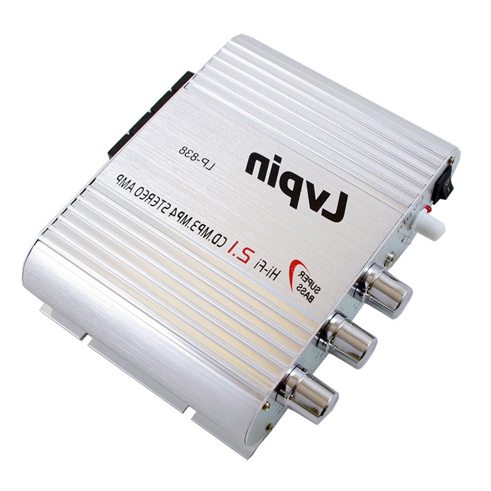 Lvpin 2.1 Mini Amplifier Amp Stereo Audio 200W 12V & AC Adapter