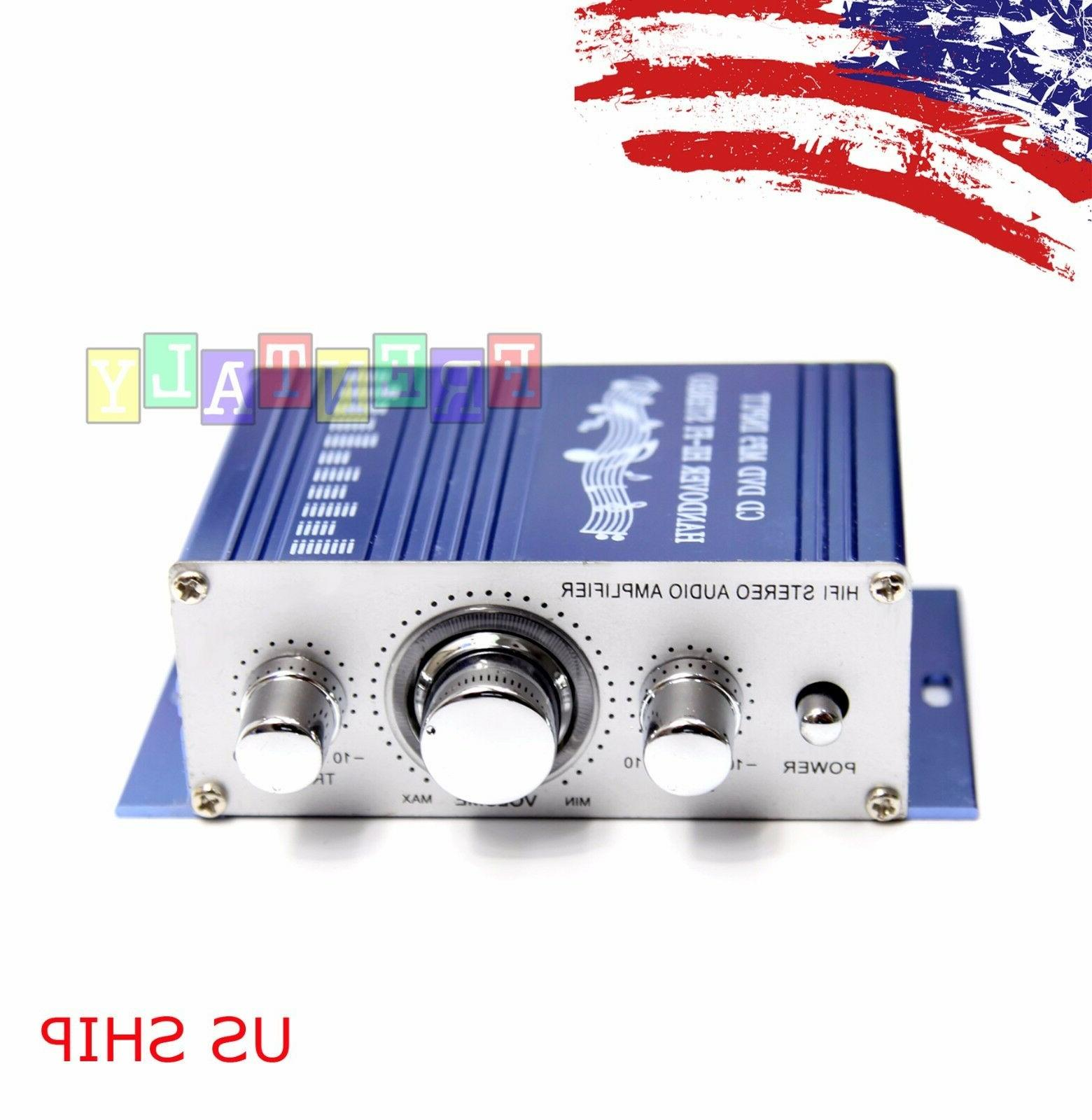 Mini 2CH Hi-Fi Audio Amplifier Booster MP3 Stereo For Car Mo