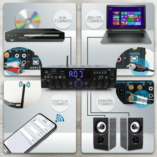 Pyle PDA4BU Wireless Bluetooth Home Stereo Amplifier-Multi-Channel 200 Watt