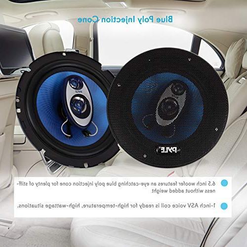 Pyle 6.5'' Three Way Sound Speaker Round Shaped Pro Range Triaxial Loud 360 Watt Per Pair w/ 4 and 3/4'' Piezo for PL63BL