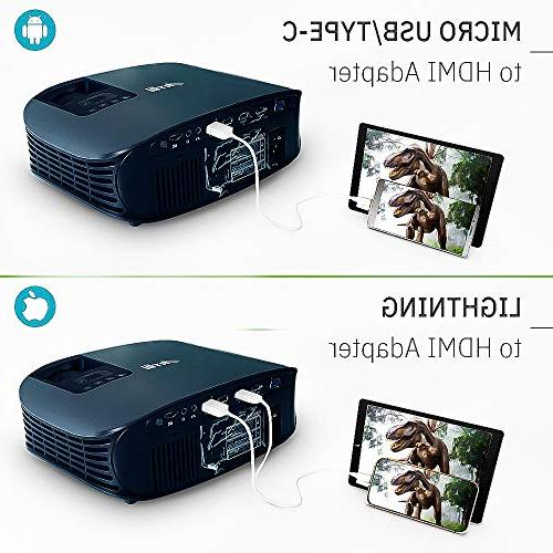 Movie Projector, Lux Support Projector with Stereo Home Theater Projector 2 HDMI USB VGA Movies, Sports and
