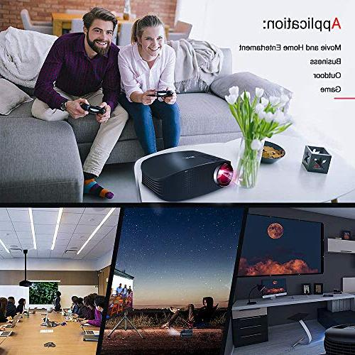 """Movie Lux 1080P Support Projector Stereo 200"""" Projector with USB VGA AV Movies,"""