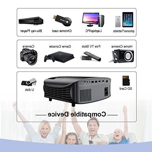 Movie Projector, 3600 Lux 1080P Support Projector with Stereo Projector with 2 HDMI USB VGA Movies, Home Cinema, Sports and
