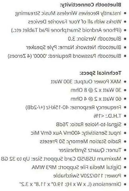 Pyle PT272AUBT Watt Stereo Amplifier Receiver USB/SD,Bluetooth AM-FM Tuner