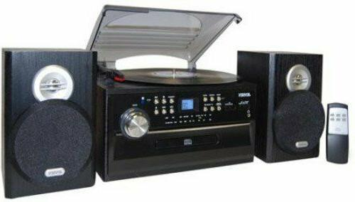 Stereo System Kit Home Theater Shelf Speakers 3-Speed Turnta