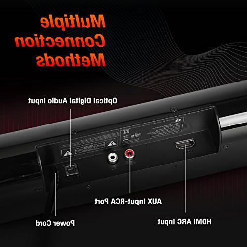 1byone Audio 2.0 Channel Sound Bar 20w Digital Input, Mountable, Black