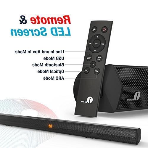 1byone Stereo Wireless Audio Soundbar TVs/Smartphones, 2.0 Dual Channel Bar Digital Mountable, with Remote Black