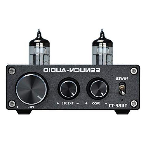 SENUCN-AUDIO Tube-T1 Preamplifier, Vacuum Tube Mini with Treble & Bass Tone for Audio Player