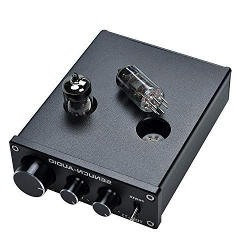 SENUCN-AUDIO Tube-T1 Preamplifier, Vacuum Amplifier Buffer Mini Hi-Fi Stereo with Tone Control Audio Player