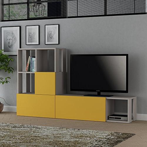 new concept 8fb7d facc3 LaModaHome Tv Stand Unit Light Brown Yellow Modern Accessory Functional  Stylish Stand Storage Multi Function Organize House Decor Desk Unit  Furniture ...