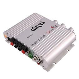 Ocamo Mini Car Amplifier, Silver Portable 2.1 2 Channels Bas