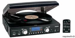 NEW BLACK JENSEN HOME STEREO AM / FM RADIO 3-SPEED VINYL REC