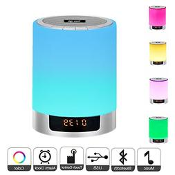 Night Light Bluetooth Speakers with Alarm Clock, Portable Co