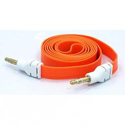 Orange Flat Aux Cable Car Stereo Wire Audio Speaker Cord 3.5