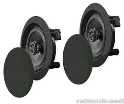 "Pair Black 5.25"" inch 5 1/4"" Round Ceiling Wall Home Audio S"