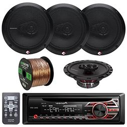 Pioneer DEH150MP Car Stereo CD Receiver Bundle Combo With 4x