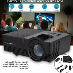 Portable HD HDMI Stereo Home Theater Projector 1800LM Screen