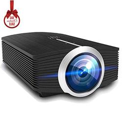 Video Projector, MEER 1600 Lumens 130'' Wide Screen LED Port