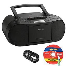 Sony CFDS70BLK CD/Cassette Boombox Home Audio Radio, Black +