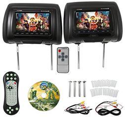 "Rockville RDP711-BK 7"" Black Car Headrest Monitors w/DVD P"