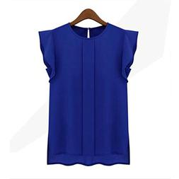 Snowfoller Round Neck Fly Sleeve Chiffon Top For Women - Ele