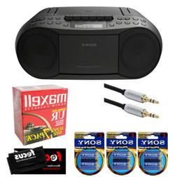 Sony Stereo CD/Cassette Boombox Home Audio Radio, Black  w/