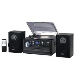 Stereo System Kit Home Theater Shelf Speakers 3-Speed Turnta