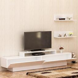 LaModaHome Tv Stand Unit White Functional Modern Living Room