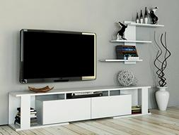 LaModaHome Tv Stand Unit White One Color Functional Extraord