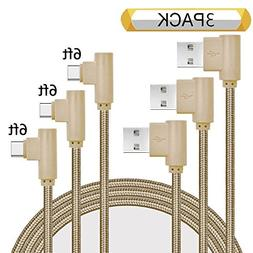 Ankoe USB Type C Cable, 3 Pack 6ft Right Angle 90 Degree Nyl