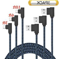 USB Type C Cable, Ankoe 3 Pack 3FT 6FT 10FT Right Angle 90 D