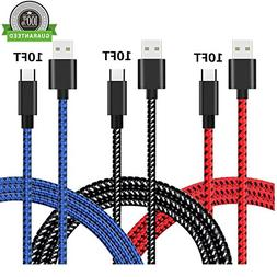 USB Type C Cable, AWOGER 3 Pack 10FT USB C Cable Extra Long