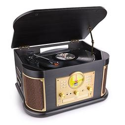 D&L Vintage Record Player Wooden 7-in-1 Bluetooth Phonograph