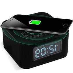 Homtime Wireless Charging Alarm Clock Radio Bluetooth Speake