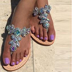 Women Bohemia Shining Rhinestone Slipper Flip Flop Sandals F