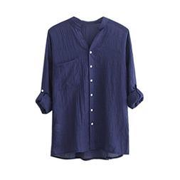 New Arrival! Snowfoller Women Cotton Linen T-Shirt Solid Col
